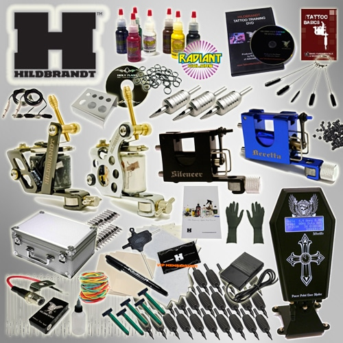 Complete Tattoo Kits 2 Machines Guns 20 Colors Inks Set Tattoo Power Supply  Needles Tips Grips