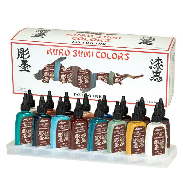 Kuro sumi 16 1 2oz primary color ink set no 3 for Dynamic black tattoo ink review