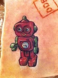 robot tattoo portrait