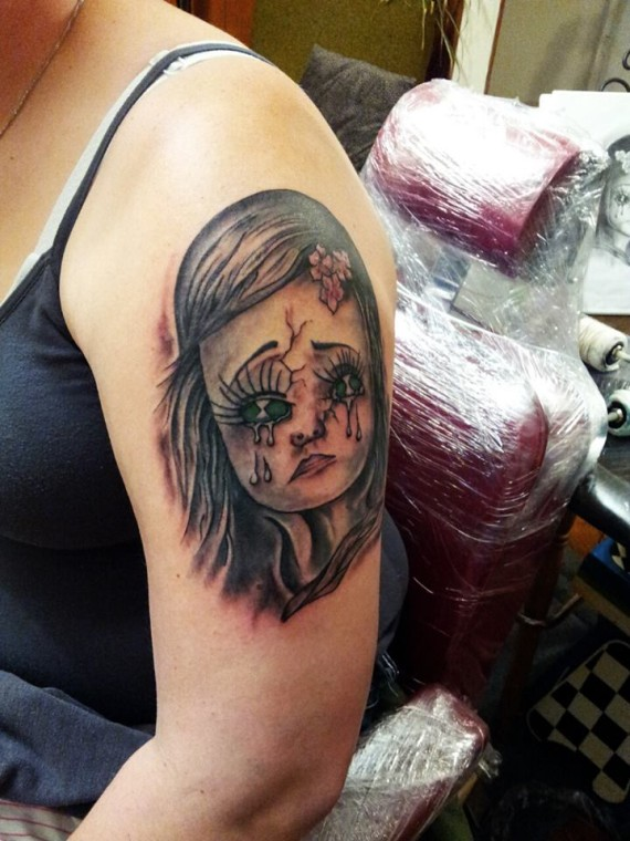dark gothic child tattoo