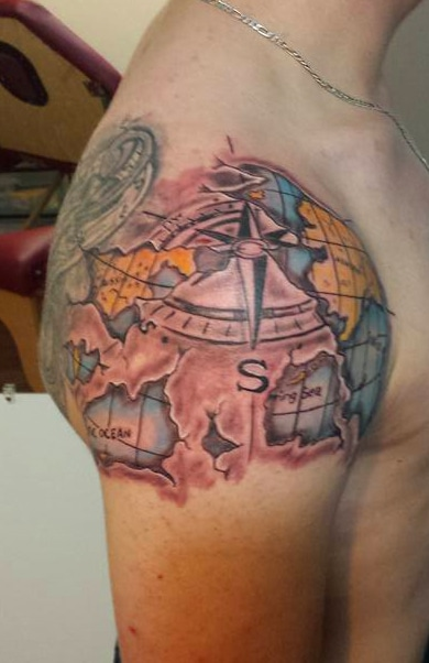 Globe Map Tattoo