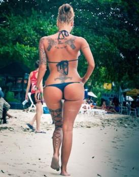 tattoo leg bow tie girl
