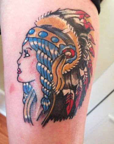 Traditional Indian Lady Tattoo