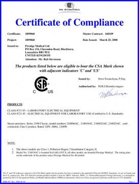 autoclave csa compliance certificate