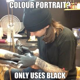 colour portrait black