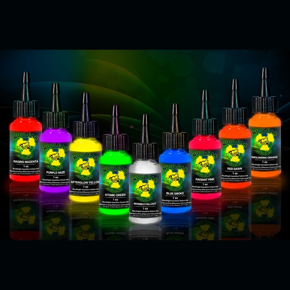 uv blacklight tattoo ink set