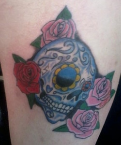 OldSchool Skull Roses Tattoo