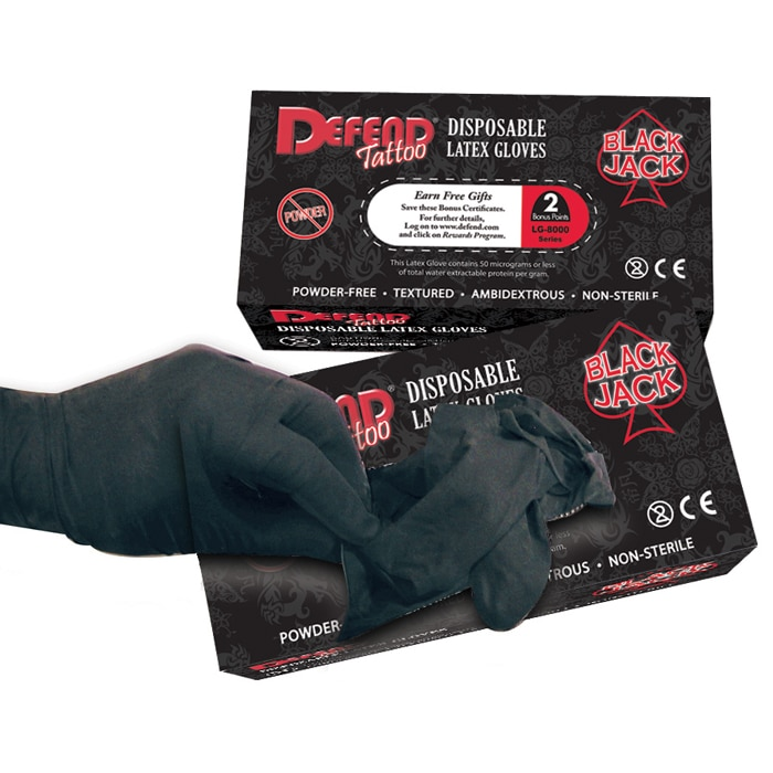 Black Jack Latex Tattoo Gloves