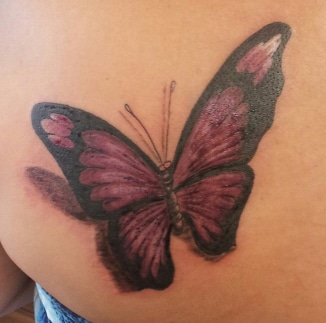 Hildbrandt tattoo artists gallery in review for Purple butterfly tattoo