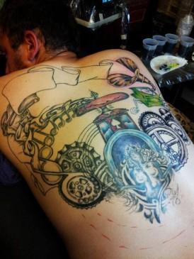 Gears Roman Gods Back Tattoo