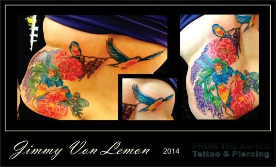 Canary Bird and Flowers Tattoo
