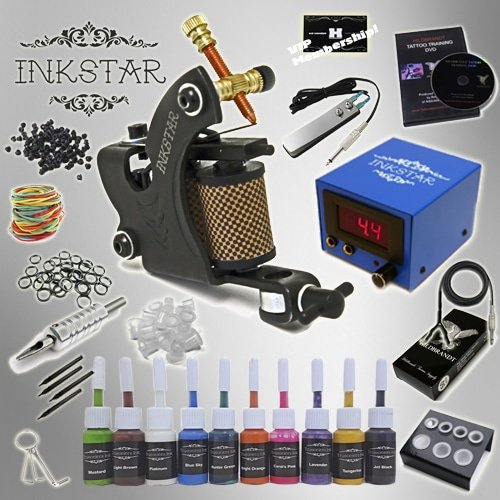 Tattoo kit inkstar venture c kit with truecolor 10 ink set for Starter tattoo kits