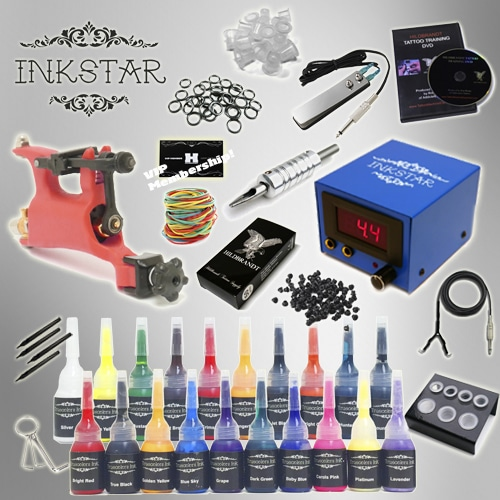 Tattoo kit inkstar venture rotary and truecolor 20 ink set for Tattoo gun kits for sale