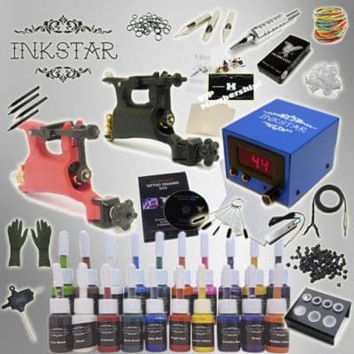 Inkstar rotary tattoo kit with 20 inks