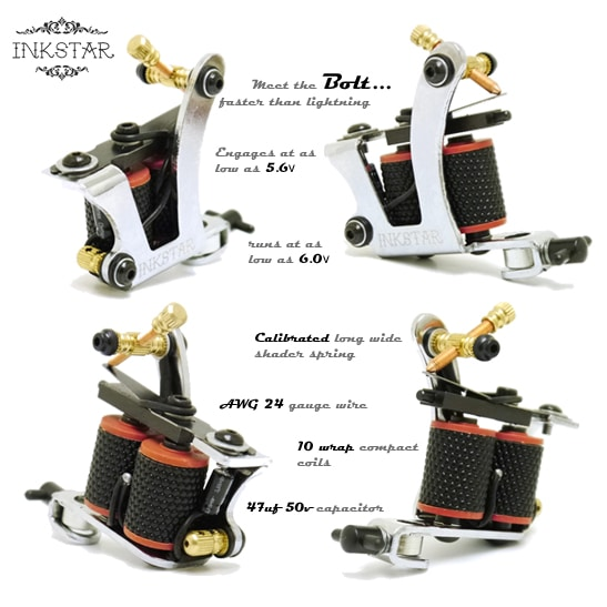 The Bolt Tattoo Machine By Inkstar Is Setup As A 10 Wrap