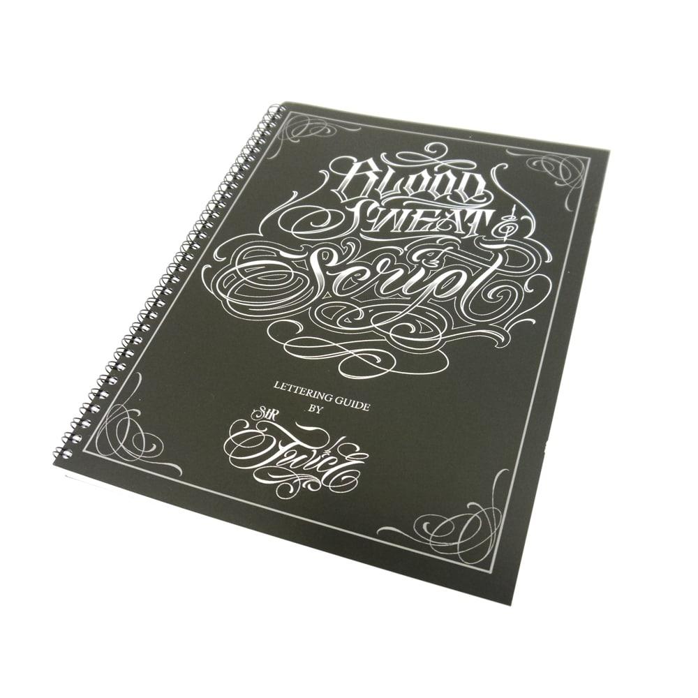 blood sweat script tattoo flash design book. Black Bedroom Furniture Sets. Home Design Ideas