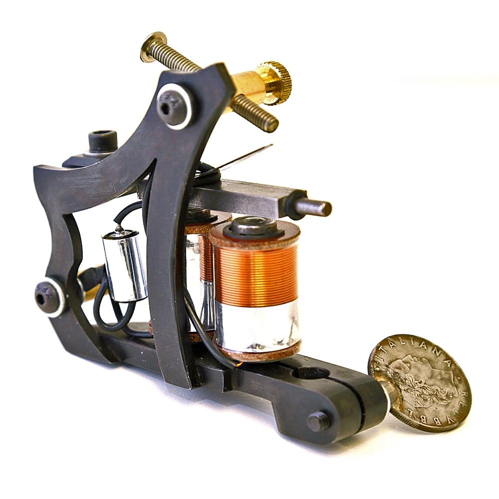 Custom inx tattoo machine jensen style frame matte black for Shader tattoo machine