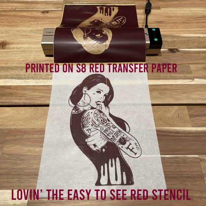 TOEC Tattoo Printer Examples S8 Red Paper